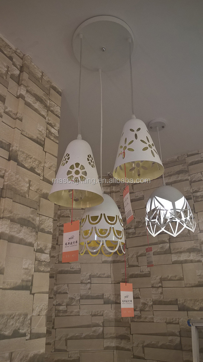 MASO laser engraving cutting iron chandelier MS-P7015 restaurant modern decoration shop indoor lighting