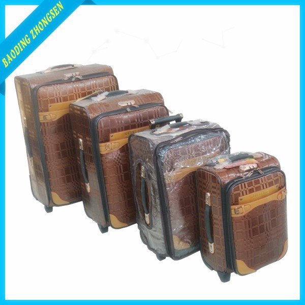 Classical 4 pcs set vintage canvas suitcase leather suitcase