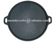 "13-4/5"" Cast Iron Round Pre-seasoned Paella Pan with grill bottom"