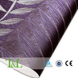Elegant heavy embossed purple wallpaper hotel decoration
