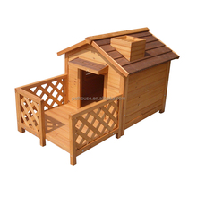 wooden dog kennel with balcony