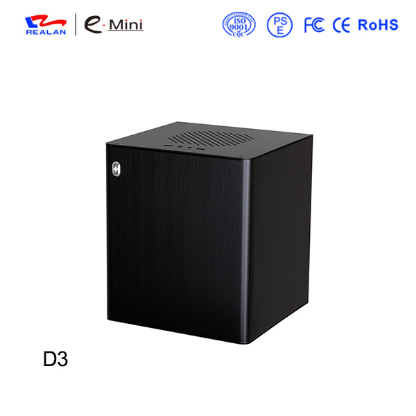 Realan D3 Mini Desktop Computer, Aluminum Mini ITX Gaming Desktop PC Case For Mini ITX Motherboard And ATX Power Supply