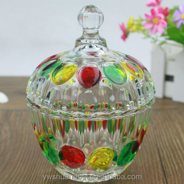 Wholesale Cheap Colorful Glass Candy Jar With Lid