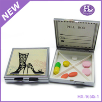 New Product HX-1650A Bronze 4 Case Square Cute Metal Wholesale Pill Box With Mirror