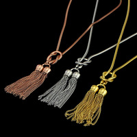 2016 latest design necklace fashion jewellery 24k gold plated women chain tassel necklace
