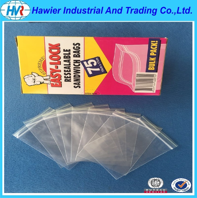 Transparent Hawier produce resealable plastic antistatic zip lock bag