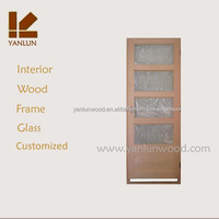 framed beech wood four panel glass wood glass exterior door