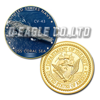 USS CV-43 Coral Sea Color Printed Gold Souvenir/ Custom Challenge Coin/ Custom Coin