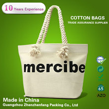 custom cotton canvas tote bag canvas rope handle beach bag for women