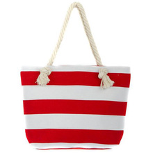 Wholesale custom fashion stripe tote canvas beach bag with rope handle