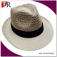customize cheap paper straw men's hollow style fedora cowboy hat