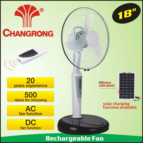 "18"" rechargable battery operated floor standing industrial fan with light"