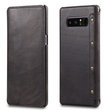 Genuine Leather Note 8 Case , Magnetic Flip Real Leather Card Holder Phone Case for Samsung Galaxy Note 8