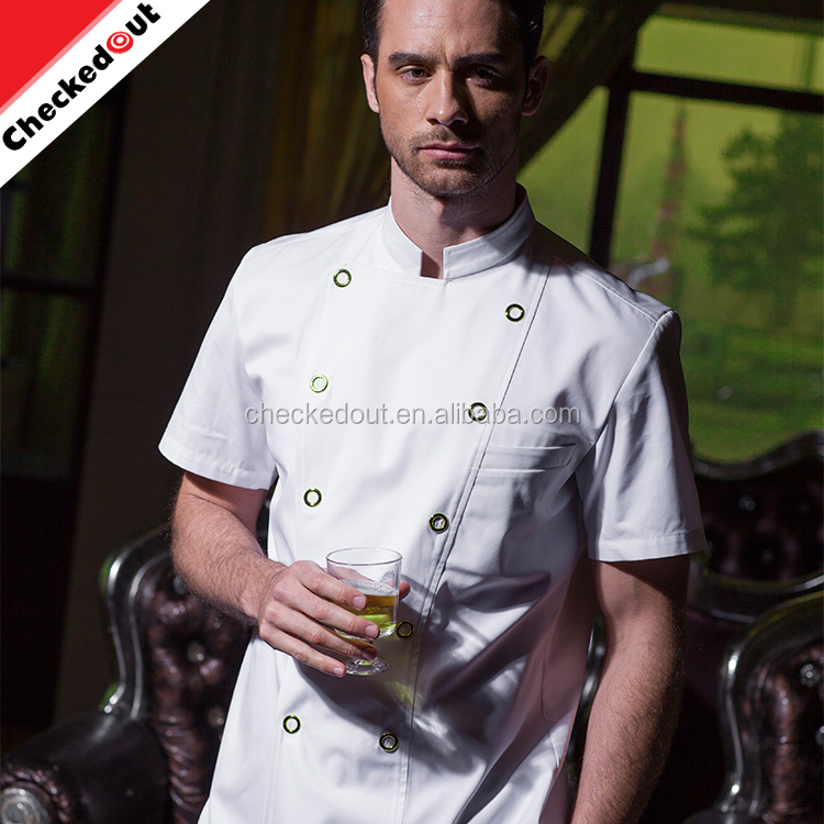 Hot sale stand collar short sleeve double-breasted button restaurant coat kitchen chef jacket cooking cheap hotel uniform