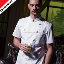 Hot sale stand collar short sleeve double-breasted button restaurant coat kitchen chef jacket cooking cheap chef uniform
