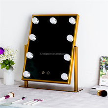 Portable 8 LED Folding Lights Makeup Mirror Illuminated Table Stand Mirror Touch Screen