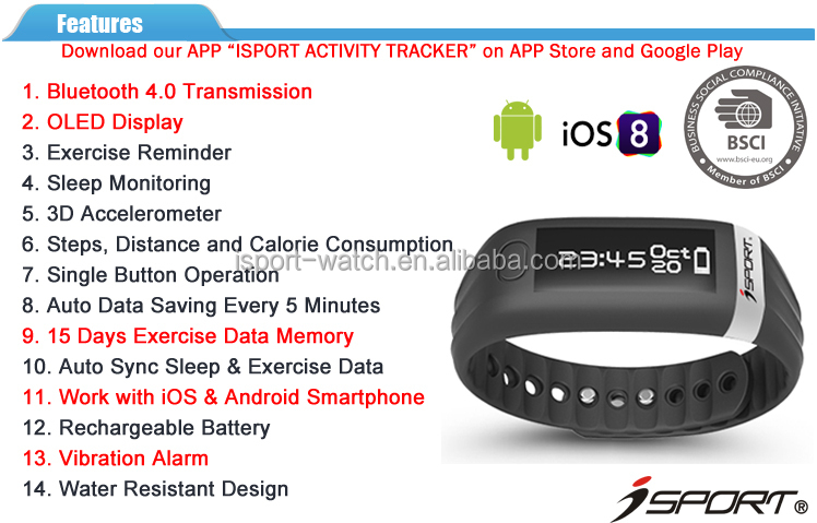 OLED Display Bluetooth 4.0 Activity Tracker Wristband Calorie Counter Bluetooth Verbration Pedometer Bluetooth Tracker