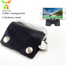 Promotional Gift Table Stand Wire Cable Winder Phone Holder Cord Keeper with Genuine Leather
