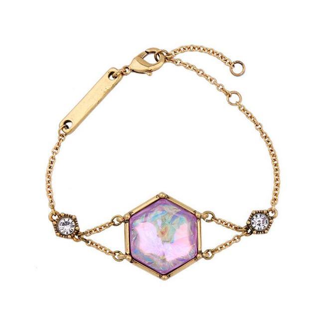 Gold plated purple gemstone bracelet for sale dubai fashion gold jewelry