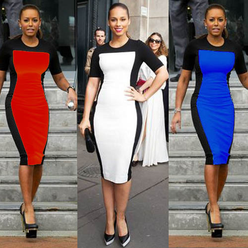 ladies bodycon color block dress short sleeve dress agent D0584