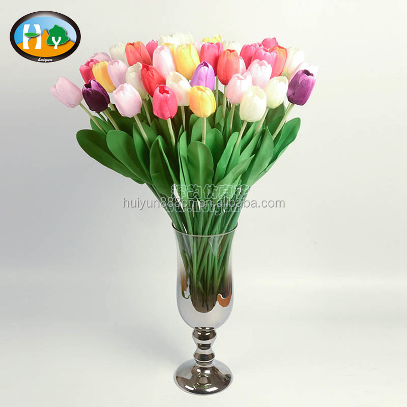 Single stem colorful cheap artificial tulip flower with PE leaf for floral arrangement