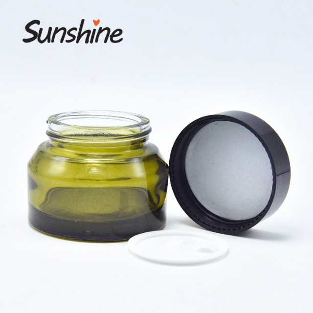 Skin cream packaging amber green frosted empty cosmetic 30g glass jar