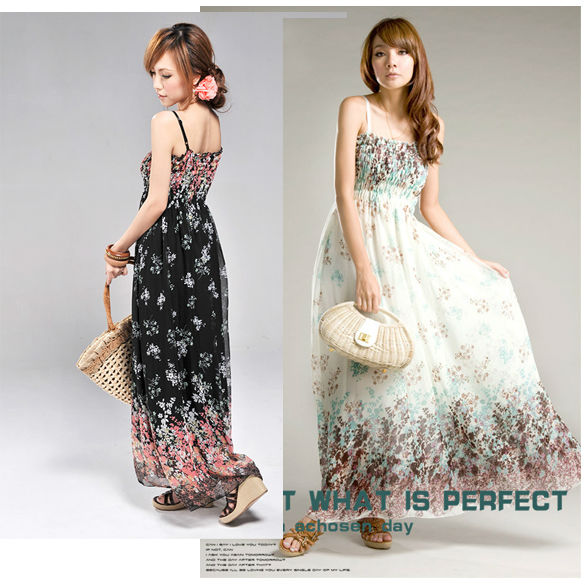 Women's flora BOHO Floral Sexy Exotic Chiffon Long Dress Skirt black and white 3104