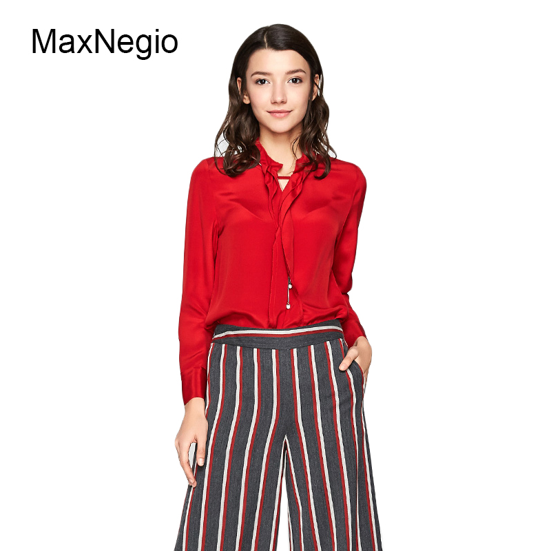 Maxnegio Lady 2018 New Design OL Semi-open Collar Commuting Red Long Blouse