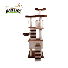 Kaifeng New Type Outdoor Wooden Cat Tree House, Plush Cat Condo