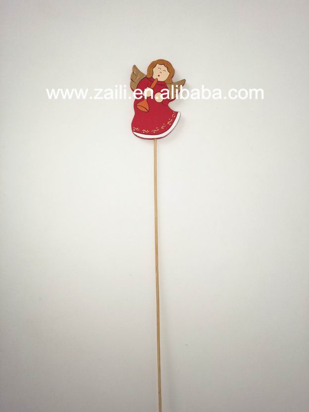 Home decoration items cheap 4.5*0.6*32cm Angel wooden stick decoration