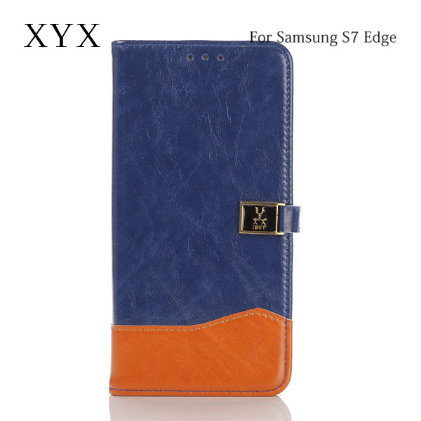 innovative mobile covers contrasting colors leather flip case for samsung galaxy s7 edge