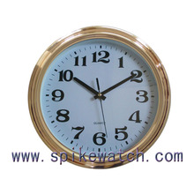 Cheap plastic material plating gold frame 6 inch wall clock