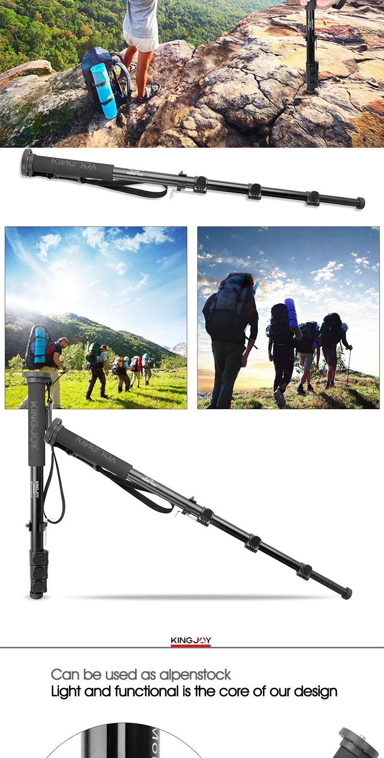 Kingjoy professional free standing aluminum camera monopod for photography