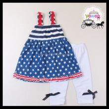 Navy pentagramme dress icing capri national day girls outfits july 4th kids clothes girls wholesale children's boutique clothing