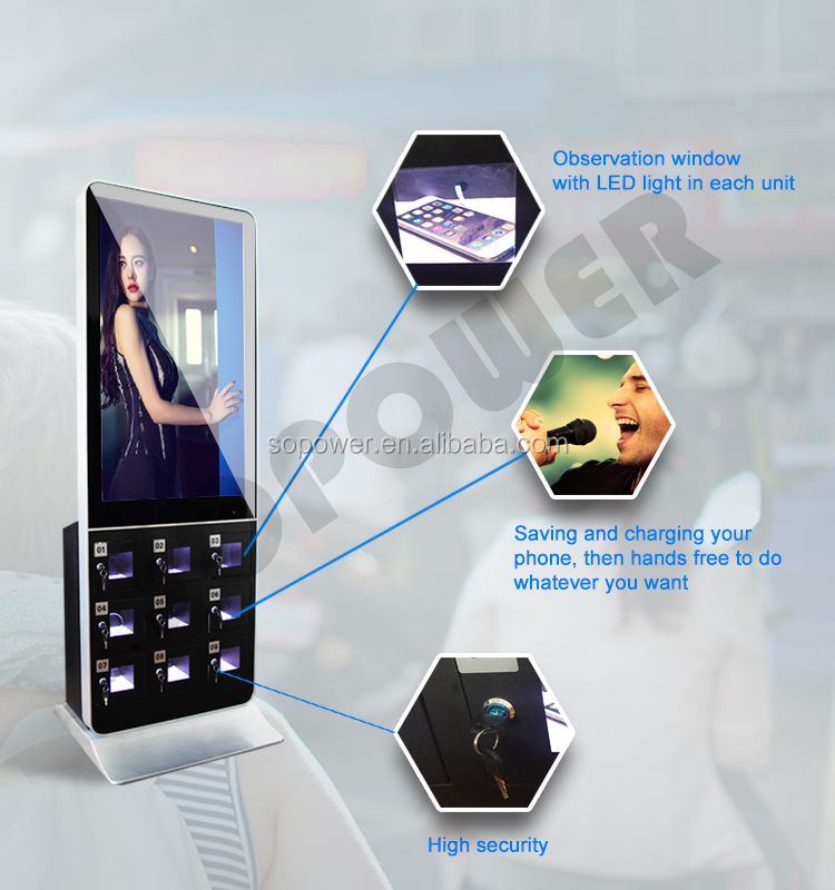 "42"" Floor Standing remote control Display/Lcd Digital Signage Media Player/public cell phone charging kiosk"