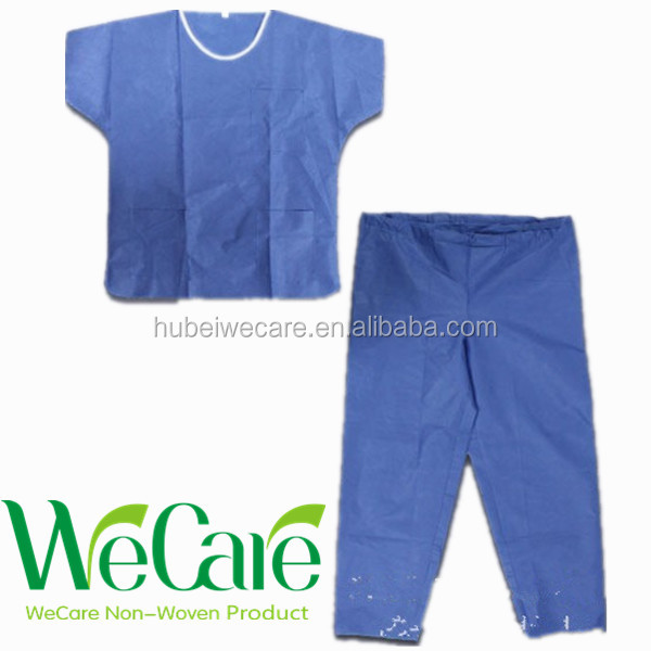 Non woven disposable Blue Surgical SMS Medical Disposable Hosptail Scrub Suits
