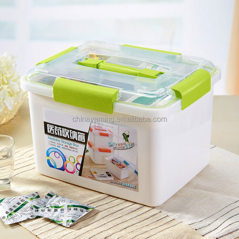 Household Portable Emergency box plastic storage double deck first-aid multigrid cells medicine storage box