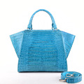 2018 newest spring fashion crocodile belly tote bags leather handbags turquoise colors