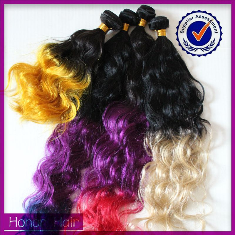 Golden supplier hot selling Qingdao honor hair multi-colored hair extensions-