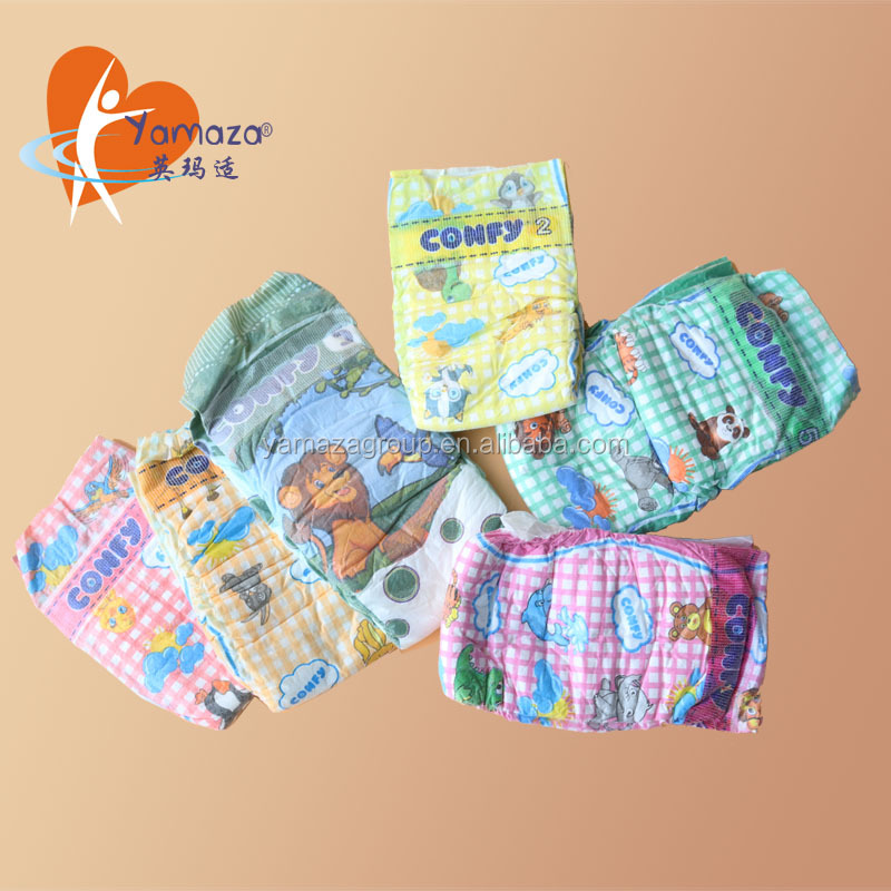Most comfortable non woven fabric free samples colored disposable adult /baby diapers on alibaba in bale china