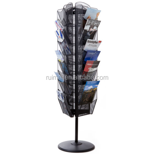 Floor Stand 3 Side Rotating A4 Mesh Brochure Display Stand