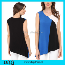 Wholesale clothing women new design modern sleeveless chiffon blouse