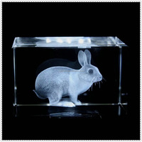 Laser Engraving 3D Rabbit Crystal Block For Children Gifts