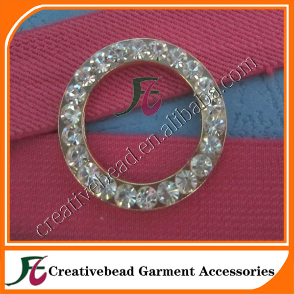 wholesale diamante rhinestone buckles Ring/crystal invitation ribbon slider wedding chair sash
