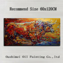 Alibaba Gold Supplier Supply High Quality Abstract Bull Oil Painting On Canvas Handmade Knife Painting Running Bull Picture