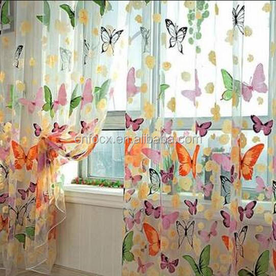 Butterfly Printed Window Curtains Tulle / Door Window Screen / curtain and window screen