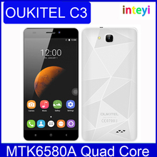 Original OUKITEL C3 5.0 Inch HD Screen Smartphone Android 6.0 MTK6580A Quad Core Cell Phone 1GB RAM 8GB ROM 2000mAh Mobile Phone