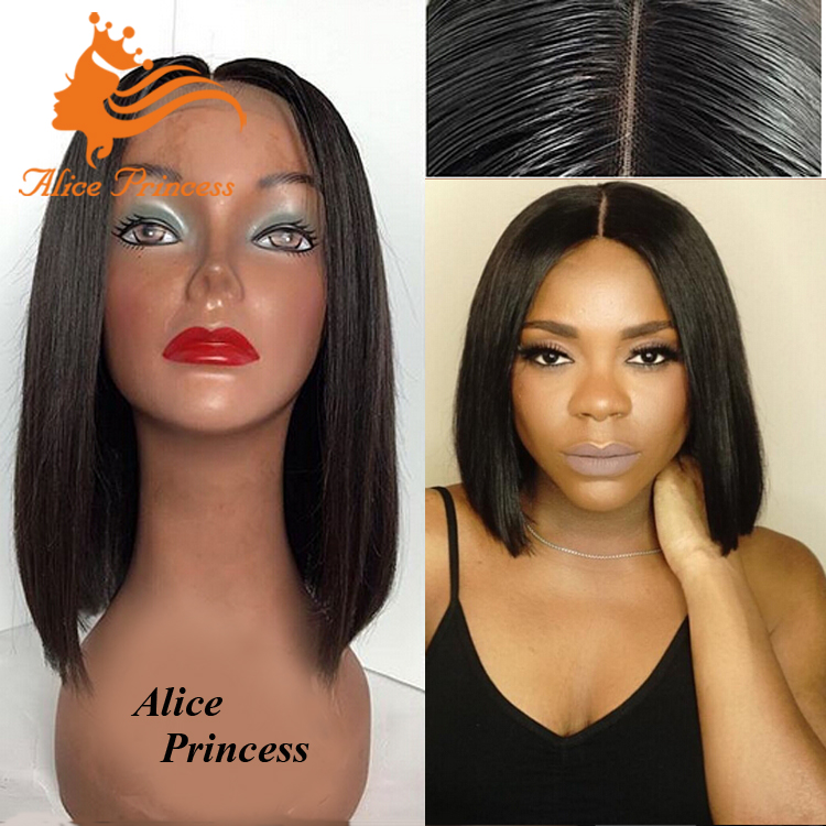 New Short Human Hair Wig For Black Women Updo Lace Wig Sliky Straight Bob Style Asian Women Hair Lace Wig