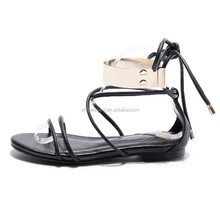 fashionable ladies fancy flat sandal, new model women sandals with anklet
