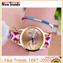 New design colorful braid rope geneva elephant watch weave chain bracelet watch